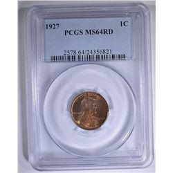 1927 LINCOLN CENT PCGS MS-64 RD