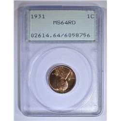 1931 LINCOLN CENT PCGS MS-64 RD