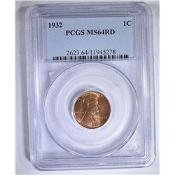 1932 LINCOLN CENT PCGS MS-64 RD