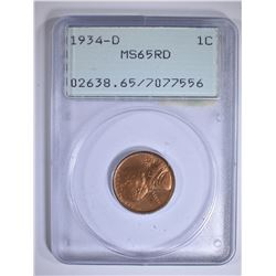 1934-D LINCOLN CENT PCGS MS-65 RD RATTLER HOLDER
