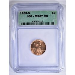 1955-S LINCOLN CENT ICG MS-67 RD