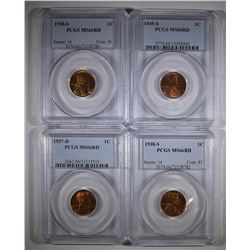 4 LINCOLN CENTS PCGS MS-66 RD