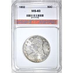 1832 BUST HALF DOLLAR, AGP CH BU