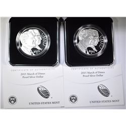 2-2015 MARCH OF DIMES PROOF COMMEM SILVER DOLLARS
