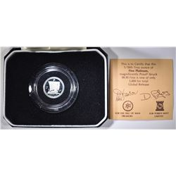 1985 ISLE OF MAN 1/10 oz PATINUM WITH BOX & CERT