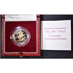 1983 PROOF GOLD SOVEREIGN WITH BOX & CERT