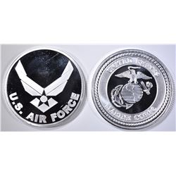 AIR FORCE & MARINES ONE OUNCE .999 SILVER ROUNDS