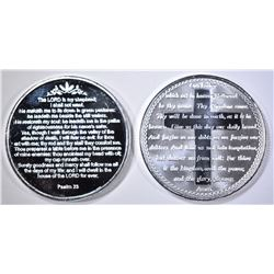 LORD'S PRAYER & PSALM 23 ONE Oz .999 SILVER ROUNDS