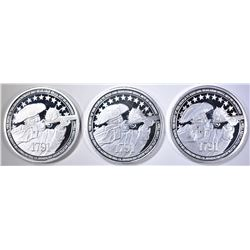 3-RIGHT TO BEAR ARMS 1oz .999 SILVER ROUNDS