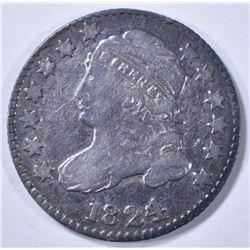1824/2 BUST DIME, VG dark