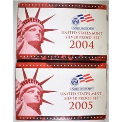 2004 & 05 U.S. SILVER PROOF SETS ORIG PACKAGING
