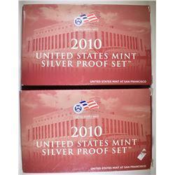 2-2010 U.S. SILVER PROOF SETS IORIG PACKAGI NG