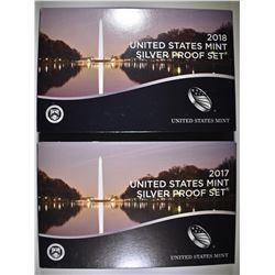 2017 & 18 U.S. SILVER PROOF SETS IN ORIG PACKAGING