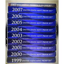1999-2007 U.S. PROOF SETS ORIG PACKAGING