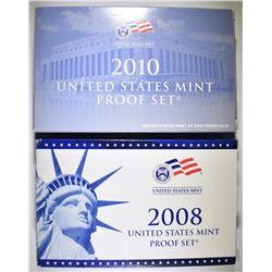2008 & 2010 U.S. PROOF SETS ORIG PACKAGING