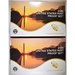 2015 & 16 U.S. PROOF SETS ORIG PACKAGING