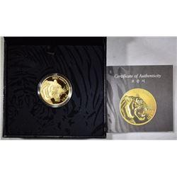 2017 .5 oz KOREA GOLD TIGER BOX AND CERT