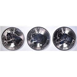 3-2019 CANADA 1oz SILVER ROARING GRIZZLY COINS