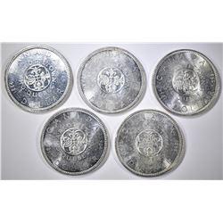 5-BU 1964 CANADIAN SILVER DOLLARS