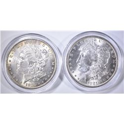 1880 & 81 CH BU MORGAN DOLLARS IN PLASTIC CAPSULES