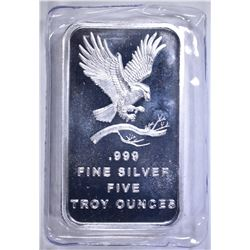 "FIVE OUNCE .999 SILVER BAR ""EAGLE"""