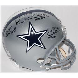 Emmitt Smith, Troy Aikman  Michael Irvin Signed Cowboys Full-Size Helmet with HOF Inscriptions (Smit