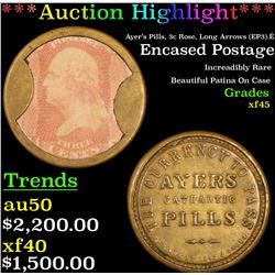 **Auction Highlight** Ayer's Pills, 3c Rose, Long Arrows (EP3).Ê Encased Postage 3c Grades xf+ (fc)