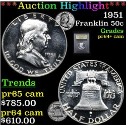 ***Auction Highlight*** 1951 Franklin Half Dollar 50c Graded Choice+ Proof Cameo By USCG (fc)