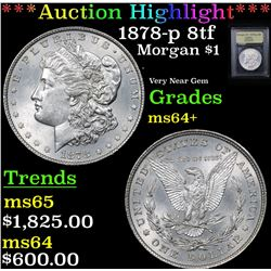 ***Auction Highlight*** 1878-p 8tf Morgan Dollar $1 Graded Choice+ Unc By USCG (fc)