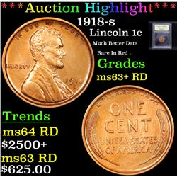 ***Auction Highlight*** 1918-s Lincoln Cent 1c Graded Select+ Unc RD By USCG (fc)