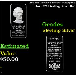 Abraham Lincoln 16th President Danbury Mint 1oz. .925 Sterling Silver Bar Grades