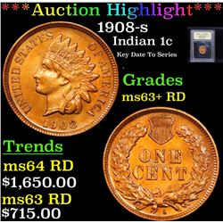 ***Auction Highlight*** 1908-s Indian Cent 1c Graded Select+ Unc RD By USCG (fc)