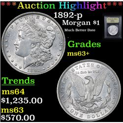 ***Auction Highlight*** 1892-p Morgan Dollar $1 Graded Select+ Unc By USCG (fc)
