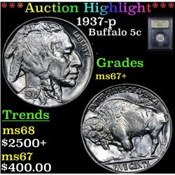 ***Auction Highlight*** 1937-p Buffalo Nickel 5c Graded Gem++ Unc By USCG (fc)