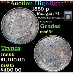 ***Auction Highlight*** 1889-p Morgan Dollar $1 Graded GEM+ Unc By USCG (fc)