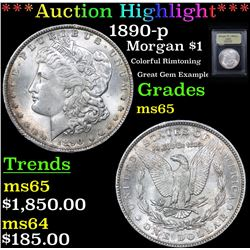 ***Auction Highlight*** 1890-p Morgan Dollar $1 Graded GEM Unc By USCG (fc)