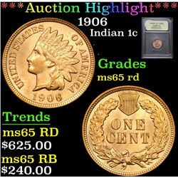 ***Auction Highlight*** 1906 Indian Cent 1c Graded GEM Unc RD By USCG (fc)