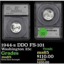 1944-s DDO FS-101 Washington Quarter 25c Graded ms65 By SEGS