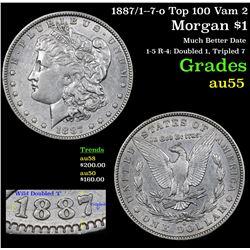 1887/1--7-o Top 100 Vam 2 Morgan Dollar $1 Grades Choice AU