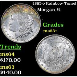 1885-o Rainbow Toned Morgan Dollar $1 Grades Select+ Unc