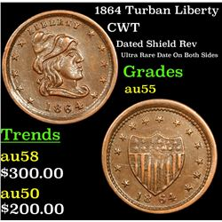 1864 Turban Liberty Civil War Token 1c Grades Choice AU