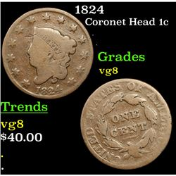 1824 Coronet Head Large Cent 1c Grades vg, very good