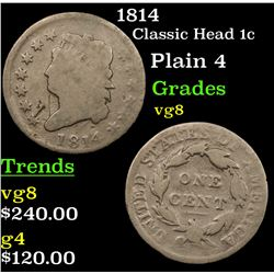 1814 Classic Head Large Cent 1c Grades vg, very good