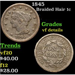 1845 Braided Hair Large Cent 1c Grades vf details
