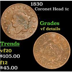 1830 Coronet Head Large Cent 1c Grades vf details