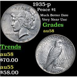 1935-p Peace Dollar $1 Grades Choice AU/BU Slider