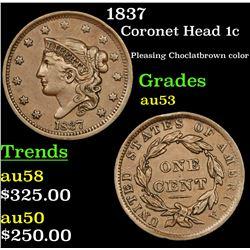 1837 Coronet Head Large Cent 1c Grades Select AU
