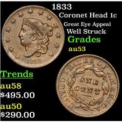 1833 Coronet Head Large Cent 1c Grades Select AU