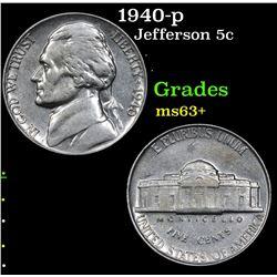 1940-p Jefferson Nickel 5c Grades Select+ Unc