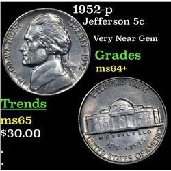 1952-p Jefferson Nickel 5c Grades Choice+ Unc